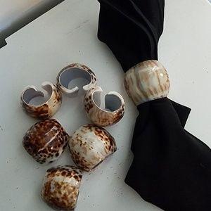 Set of 6 Napkin Rings - Shells